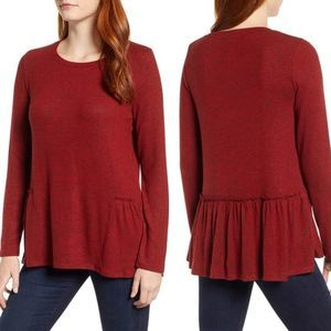 Caslon Cozy Back Red Peplum Top